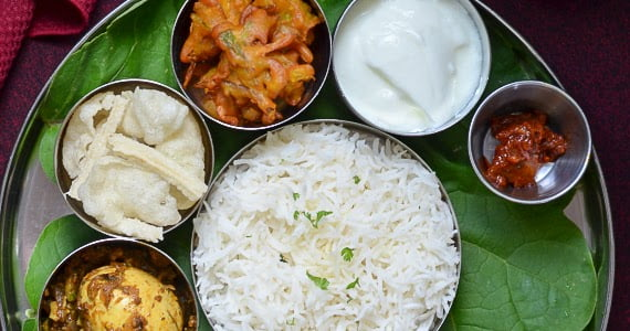 Simple Everyday South Indian Thali - Egg Pepper Fry /Muttai Milagu Varuval