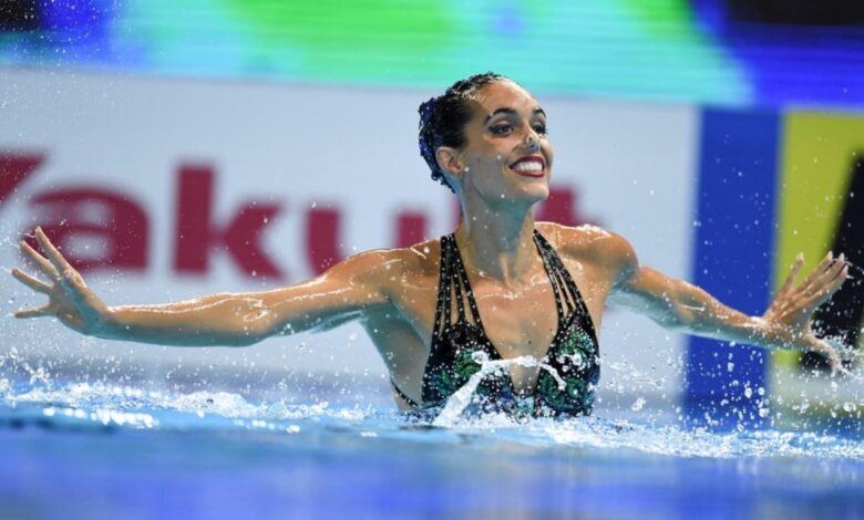 Spain's Ona Carbonell competes in the solo free artistic swimming event during the 2019 World Championships (AFP)