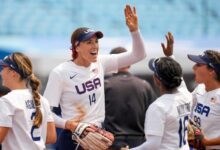 United States' Monica Abbott celebrates during the softball game between the USA and Canada (AP)