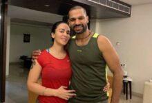 Ayesha Mukherjee with husband Shikhar Dhawan